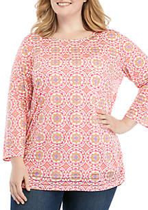 Kim Rogers® Plus Size Printed Textured Stripe Tunic