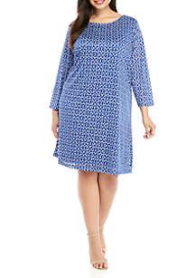 Kim Rogers® Plus Size 3/4 Sleeve Textured Shadow Stripe Dress