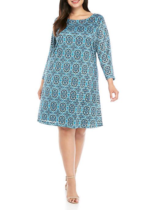 Kim Rogers® Plus Size 3/4 Sleeve Textured Shadow