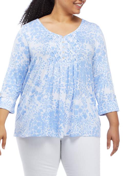 Kim Rogers® Plus Size 3/4 Sleeve Honeycomb Bi-Color