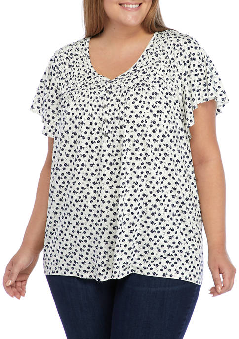 Kim Rogers® Plus Size Short Sleeve Ditsy Floral