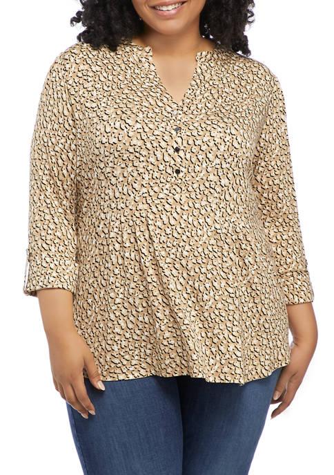 Kim Rogers® Plus Size 3/4 Sleeve Leopard Print
