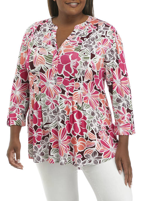 Kim Rogers® Plus Size Roll Tab Floral Henley