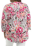 Plus Size Roll Tab Floral Henley Shirt