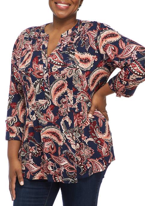 Kim Rogers® Plus Size 3/4 Sleeve Paisley Henley