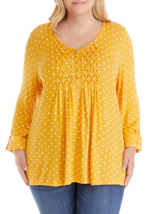 Plus Size 3/4 Sleeve Smocked Bib Top
