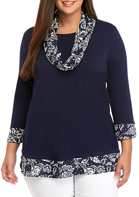 Kim Rogers® Plus Size Printed Scarf 2Fer Top