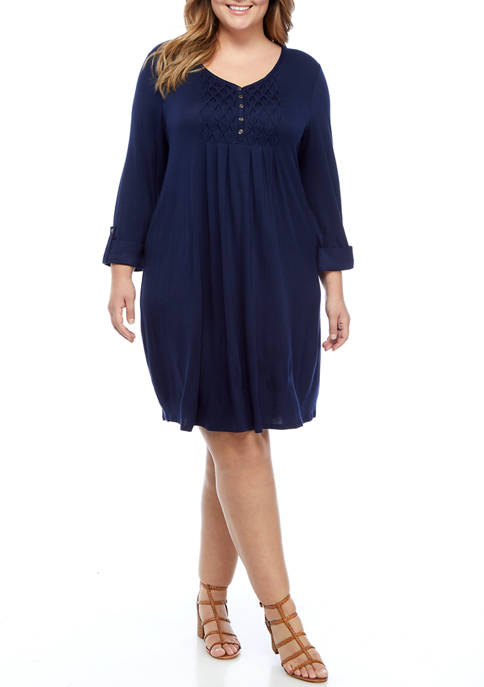 Kim Rogers® Plus Size 3/4 Sleeve Honeycomb Dress