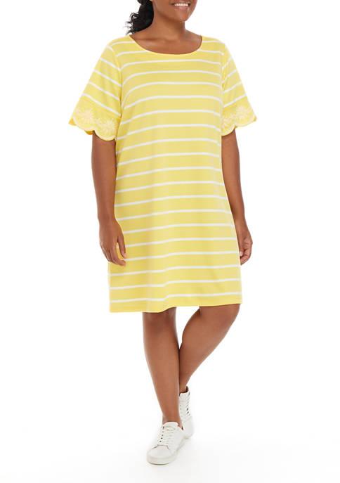 Plus Size Eyelet Cuff Dress
