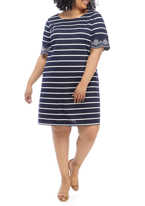 Kim Rogers® Plus Size Short Sleeve Striped Eyelet