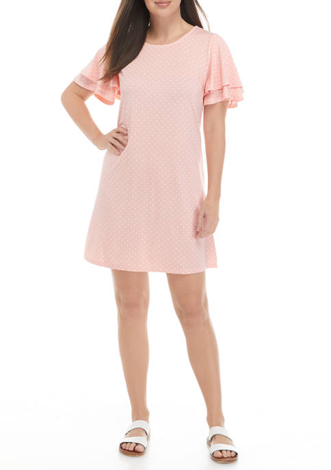 Petite Flutter Sleeve Dotted Dress