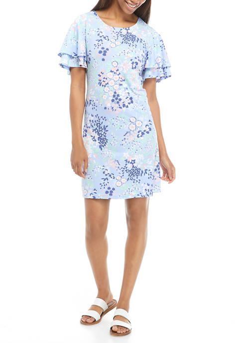 Petite Flutter Sleeve Floral Dress