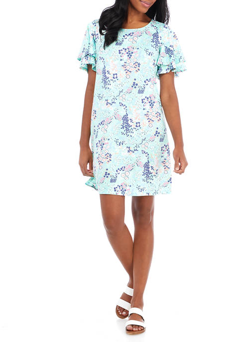 Petite Flutter Sleeve Floral Dance Dress
