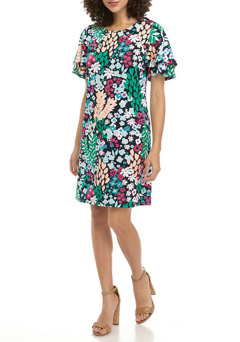 Kim Rogers® Petite Flutter Sleeve Fall Foliage Dress