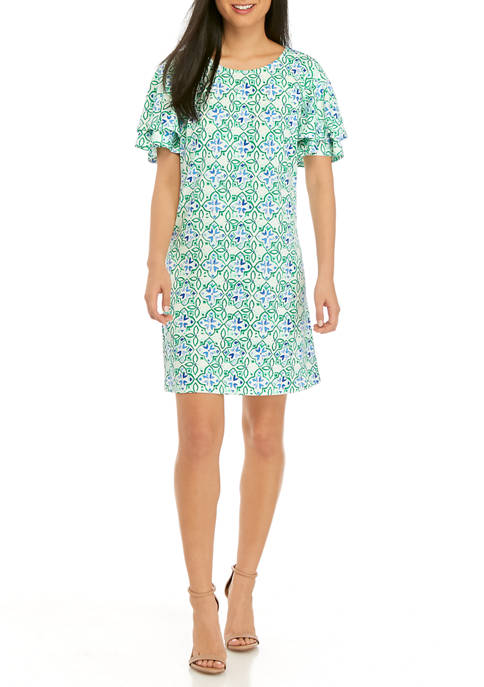 Kim Rogers® Petite Flutter Sleeve Painted Tile Dress