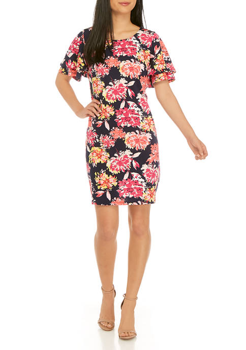 Petite Short Flutter Sleeve Floral Dress