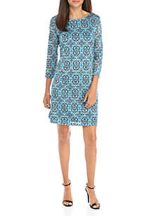 Kim Rogers® Petite 3/4 Sleeve Textured Shadow Stripe Dress