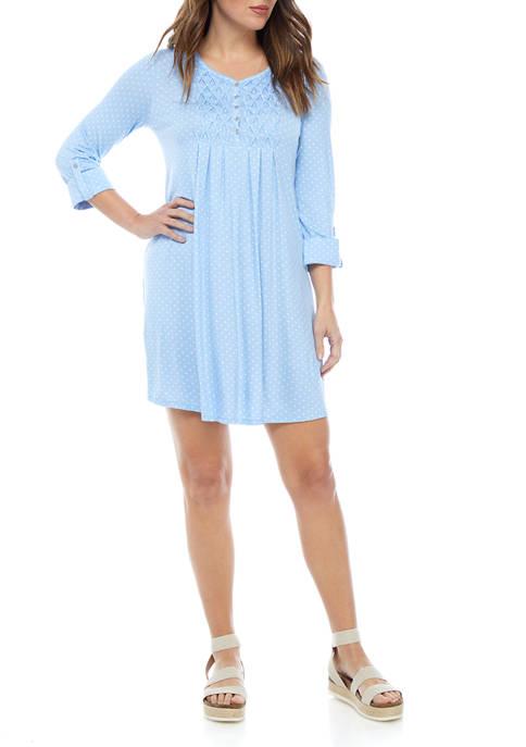 Kim Rogers® Petite 3/4 Sleeve Honeycomb Dot Dress