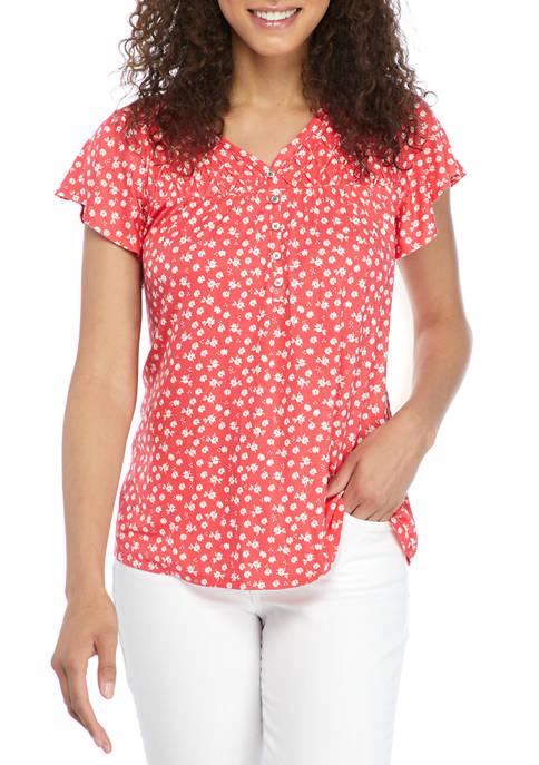 Kim Rogers® Petite Flutter Sleeve Honeycomb Knit Ditsy