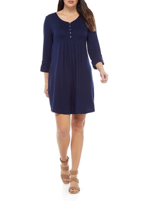 Kim Rogers® Petite 3/4 Sleeve Honeycomb Dress