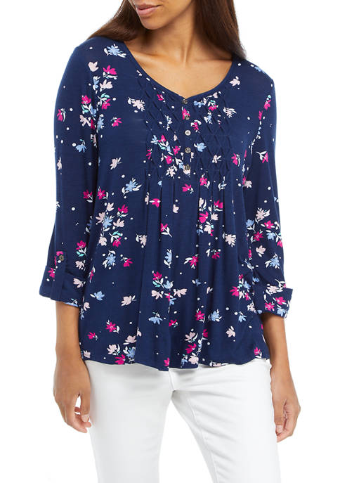 Petite Roll Tab Floral Honeycomb Top
