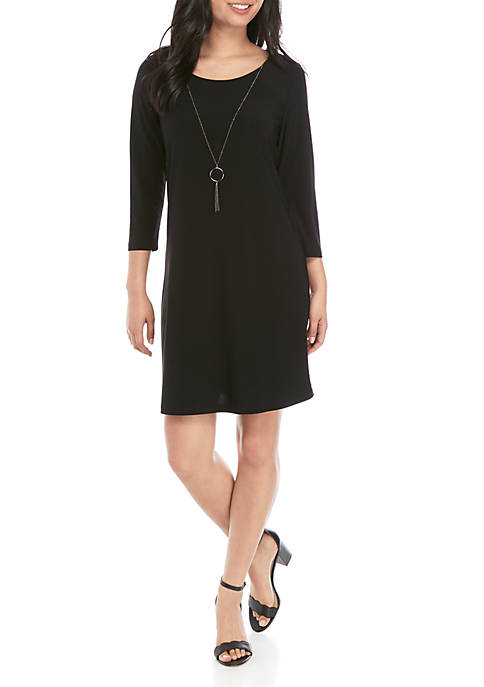 Kim Rogers® Petite Solid Dress with Necklace