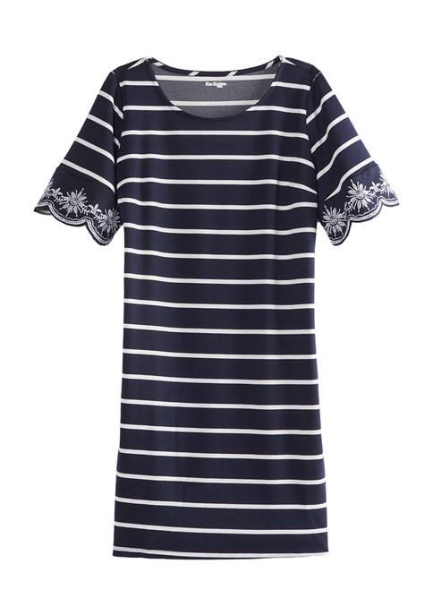 Kim Rogers® Petite Short Scallop Sleeve Stripe Dress