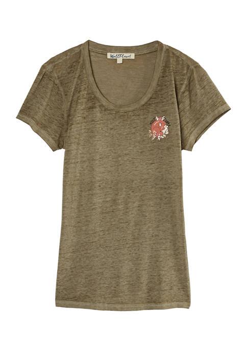 Juniors Chest Graphic Burnout T-Shirt