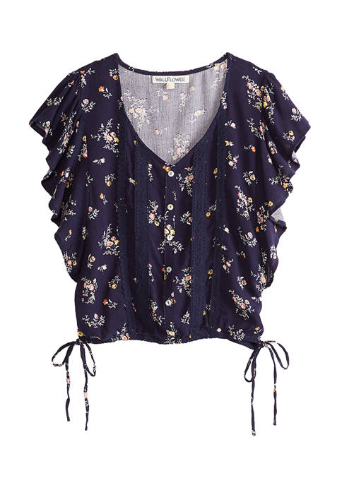 Gauze Floral Flutter Shirt