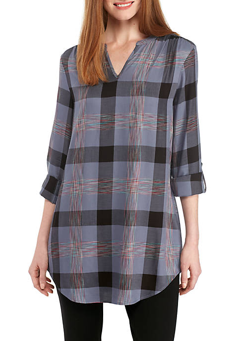 New Directions® Long Sleeve Plaid Multi-Stripe Top