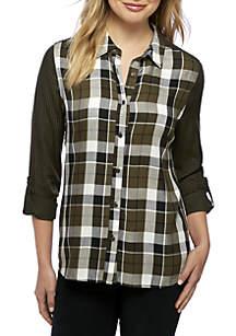 Three-Quarter Roll Sleeve Button Down Plaid Shirt