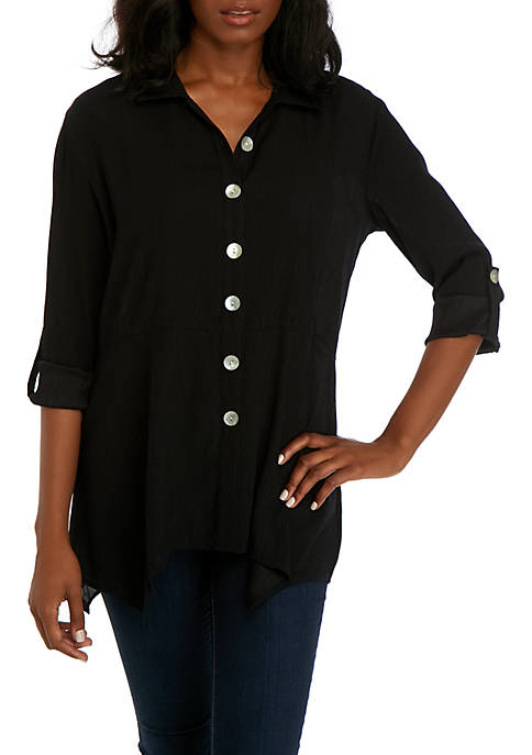 3/4 Sleeve Textured Tunic with Buttons