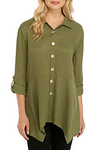 New Directions® 3/4 Sleeve Textured Tunic with Buttons