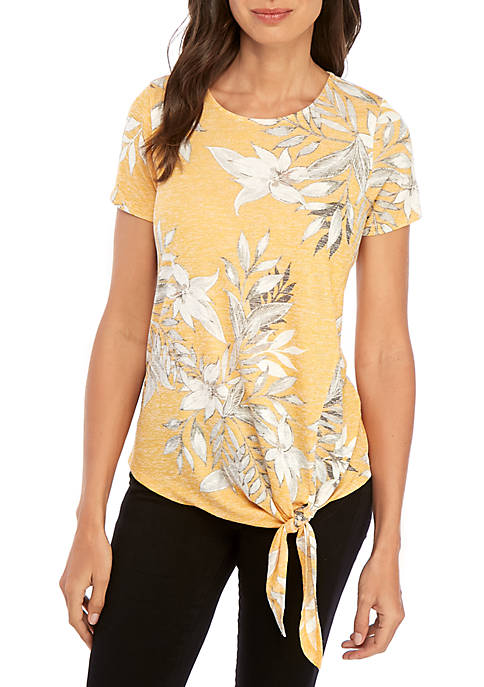 New Directions® Short Sleeve Coral Side Tie Top