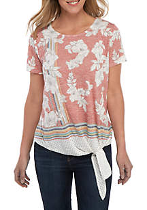 New Directions® Short Sleeve Floral Dot Stripe Side Tie Top