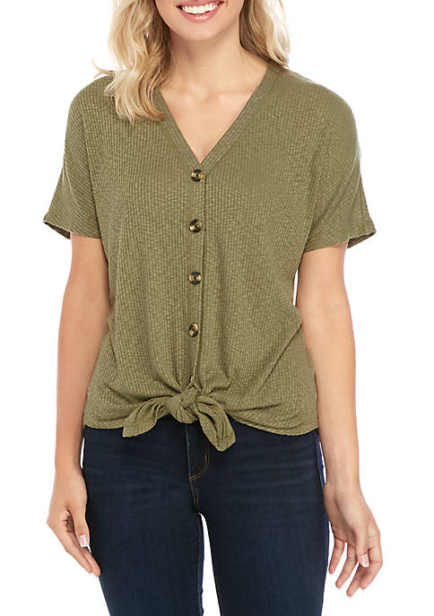 Short Sleeve Ribbed Button Twist Front T Shirt