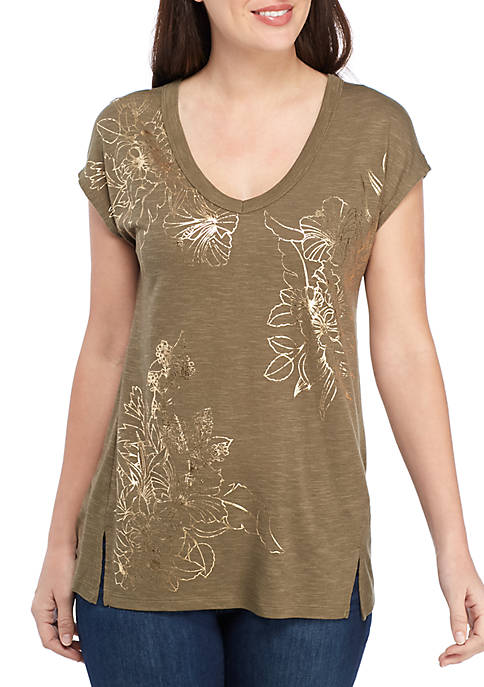 Knit V Neck T Shirt