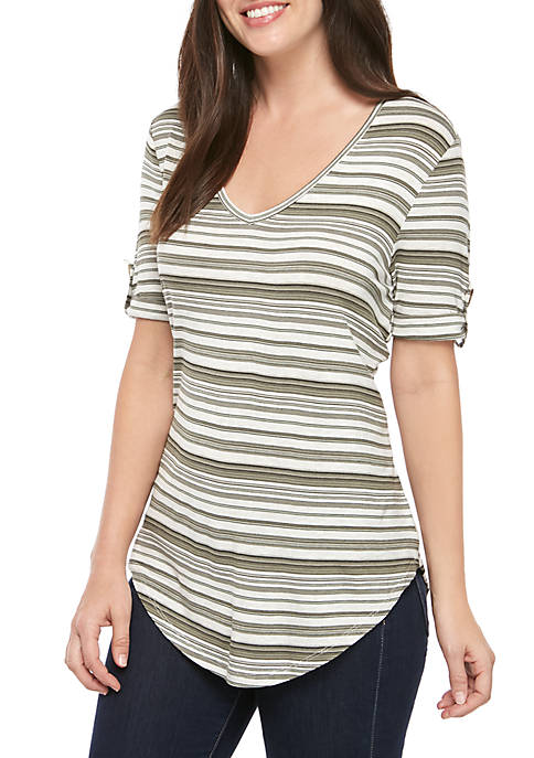 Short Sleeve Striped Halo Body T Shirt