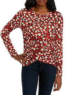 New Directions® Long Sleeve Printed Knot Front Top