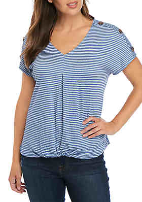 ecd53eded New Directions® Short Sleeve Stripe Twist Knit Front Top ...
