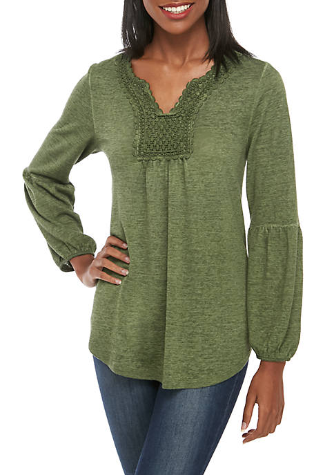 Washed Knit Peasant Top