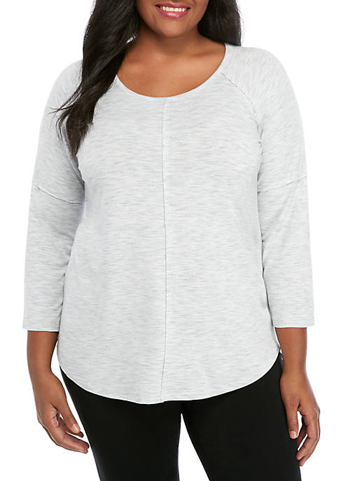 New Directions® Plus Size 3/4 Raglan Sleeve Space