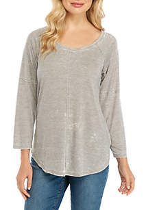 New Directions® 3/4 Sleeve Burnout T-Shirt with Seams