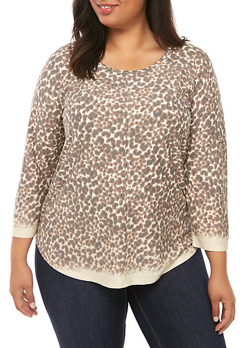 Plus Size 3/4 Raglan Sleeve T-Shirt