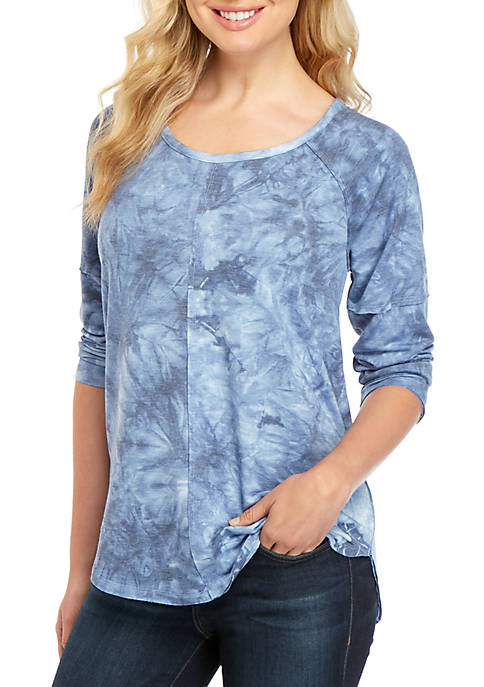New Directions® 3/4 Sleeve Tie Dye T Shirt