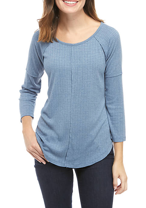 New Directions® 3/4 Raglan Sleeve Seamed T-Shirt