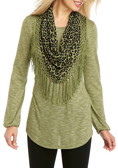 3/4 Sleeve Top with Scarf