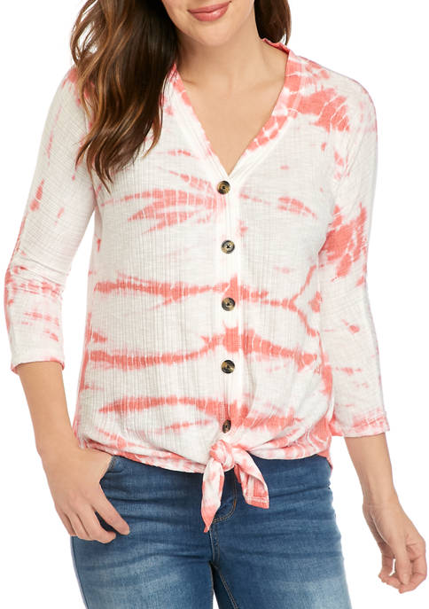 New Directions® Womens 3/4 Sleeve Rib Texture Gauze