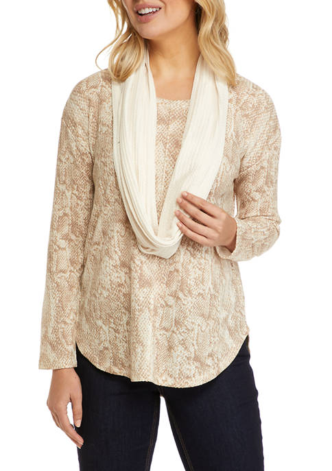 New Directions® Womens Long Sleeve Knit Top