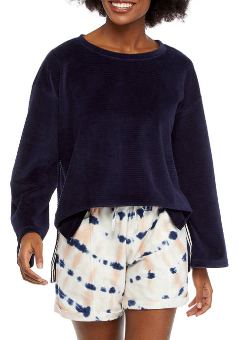 New Directions® Studio Womens Long Sleeve Velour Rib